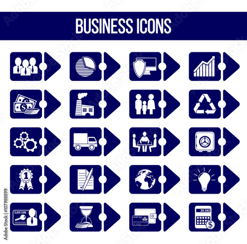 Set of 20 business icons in form of bullet List including