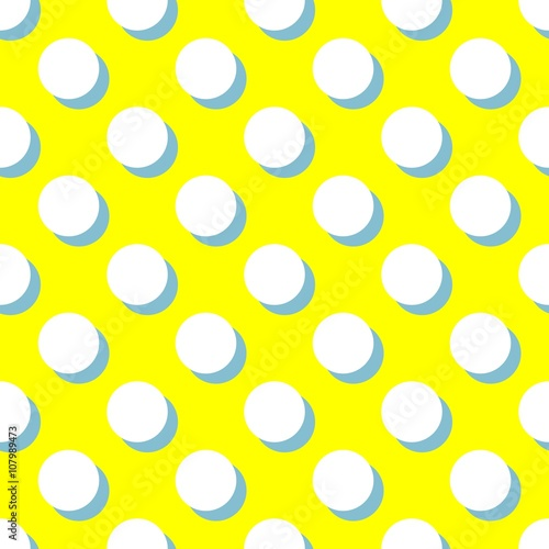 Photo  Tile vector pattern with white polka dots and mint green shadow on yellow backgr