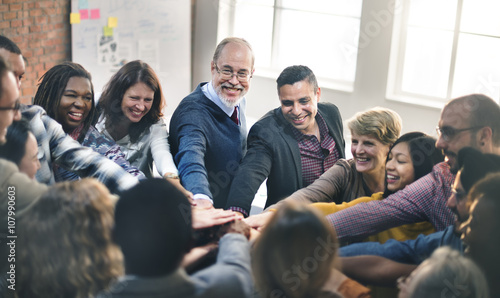 Team Teamwork Join Hands Partnership Concept Canvas Print