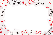 Frame Of Playing Cards On A Wh...