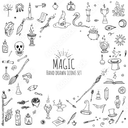 Hand drawn doodle Magic set Vector illustration wizardy