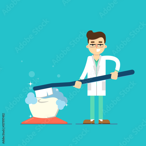 Fotografija  Dentist with tooth icon isolated, vector illustration