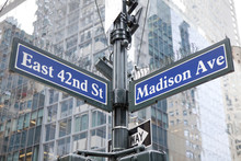Famous Street Sign In Street Sign In Manhattan - Madison Avenue And East 42nd Street
