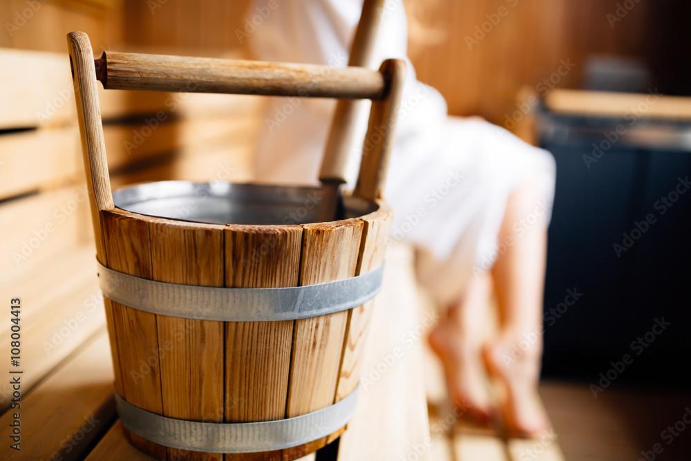 Fototapeta Sauna bucket