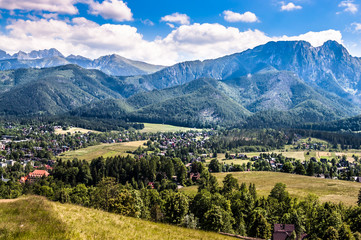 Landscape of Tatra Mountains, view at Zakopane from the top of Gubalowka