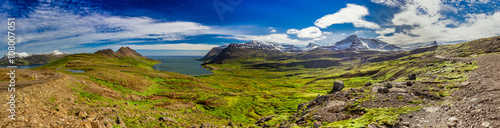Wall Murals UFO Panorama of valley with the Arctic sea in Iceland