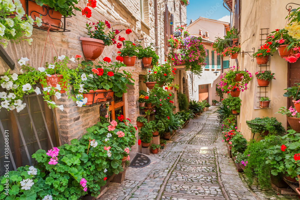 Small town in sunny day, Italy, Umbria