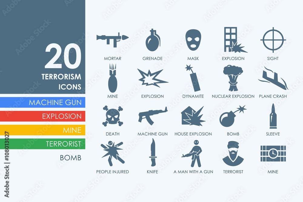 Fototapeta Set of terrorism icons