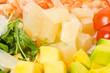Jumbo shrimp salad with avocado and mango.