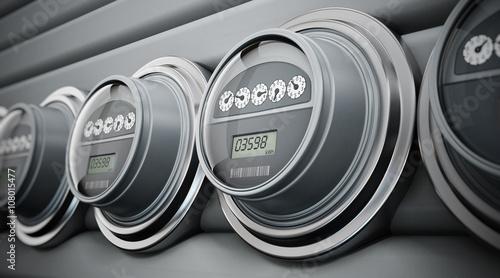 Fotografia  Electric meters in a row