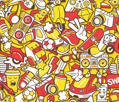 Foto op Aluminium Graffiti Graffiti seamless pattern with line icons collage