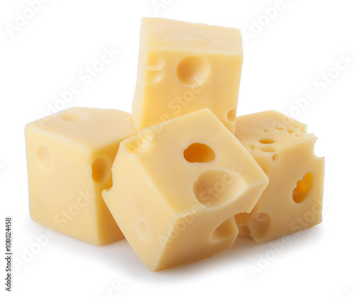 bits of cheese isolated on white background