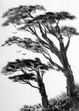 pine trees on a light background - 108025049