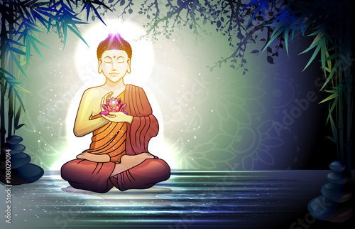 Buddha and Reflection in the Water Fototapeta