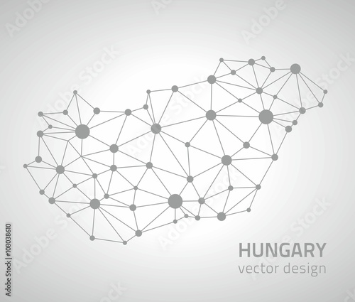 Photo Hungary grey vector outline polygonal map