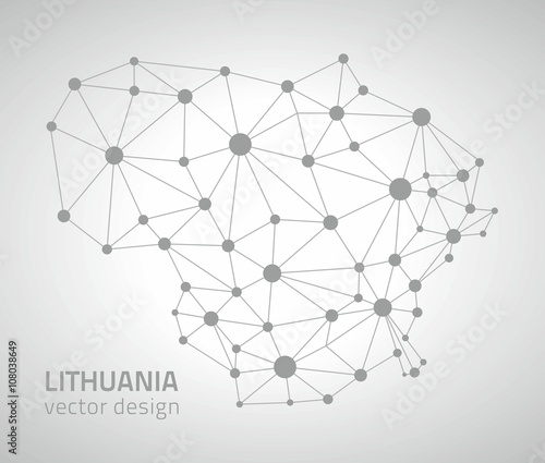 Lithuana grey vector polygonal map Canvas Print