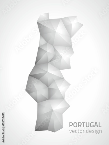 Portugal polygonal grey and silver vector map Poster