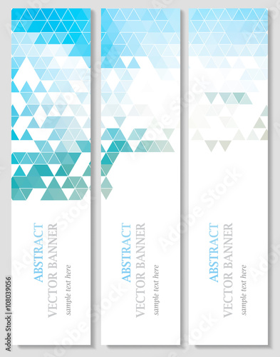Poster Abstract wave Vector banners with abstract multicolored polygonal mosaic background.