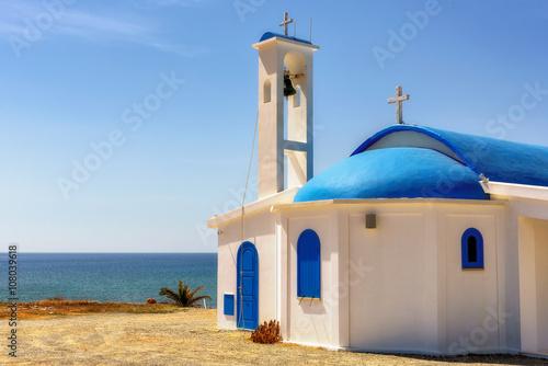 White church on a shore in Aiya Napa, Cuprus