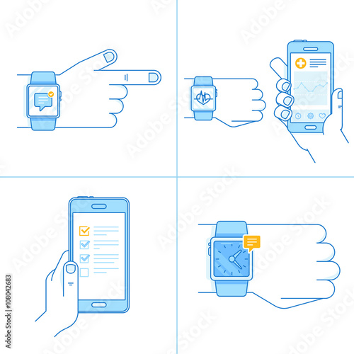 Vector set of technology illustrations and icons in trendy