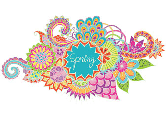 Colorful color with the word spring in the middle for banner, poster etc.