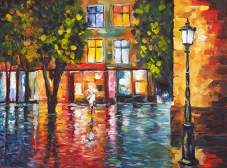 Obraz Art Oil Painting Picture Rainy Colorful Evening in the Town