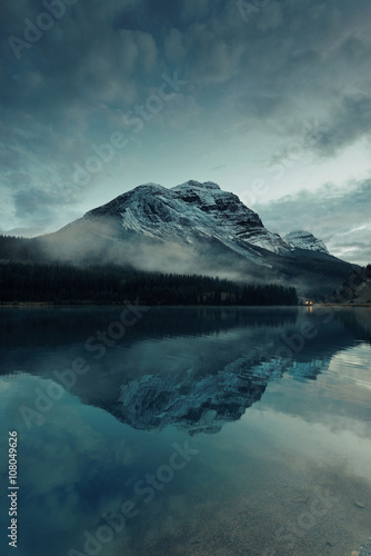 Aluminium Prints Green blue mountain with lake reflection