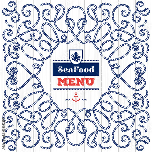 Seafood Menu modern idea. Elegant frame with marine rope. Creative ...
