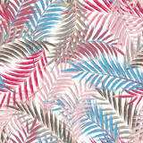Leaves of palm tree. Seamless pattern. Palm leaf in violet on white background. Tropical trees leaves. - 108053461