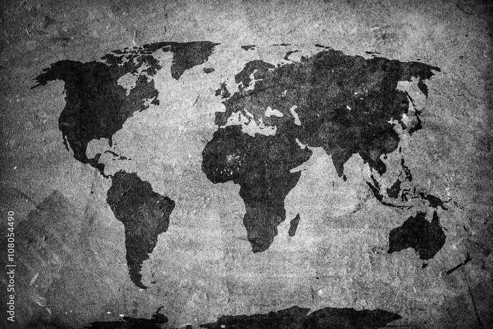 Fototapety, obrazy: Mapa świata retro na betonowej ścianie, fototapeta