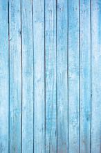 Bright Blue Wooden Plank Backg...