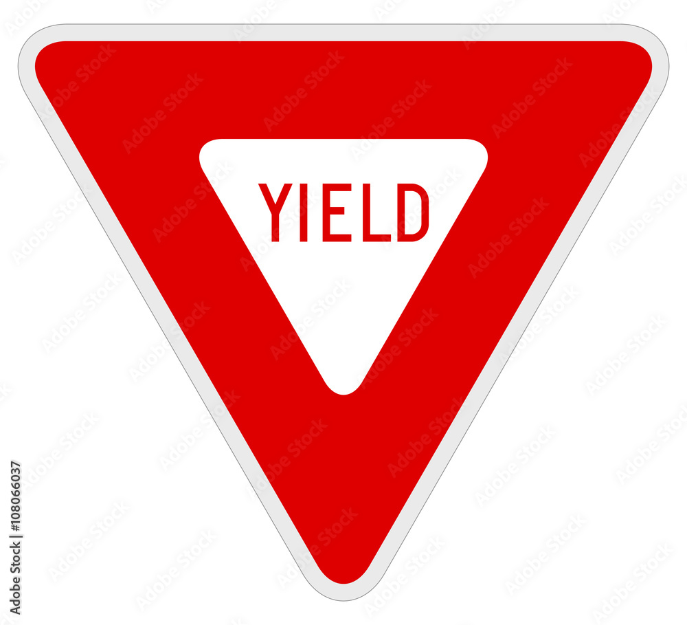 Fototapety, obrazy: Vector illustration of a yield road/traffic sign.