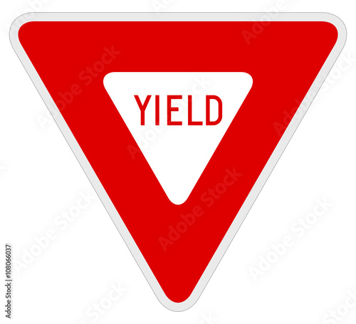 Obraz Vector illustration of a yield road/traffic sign. - fototapety do salonu