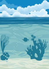 Fototapeta na wymiar underwater landscape background with silhouettes of coral