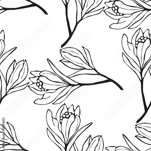 Spring flowers seamless pattern sketch style outline flowers buy spring flowers seamless pattern sketch style outline flowers mightylinksfo