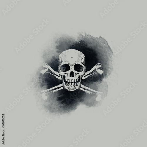 Poster Crâne aquarelle Skull and crossbones on smoky watercolour backdrop. Vector illustration