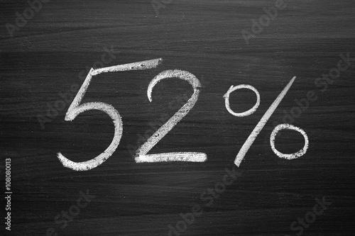 Fotografia  52 percent header written with a chalk on the blackboard