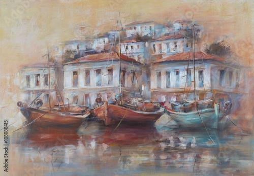 lodzie-na-port-na-wyspie-recznie-malowany