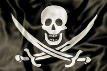 3D Pirate Flag Of Calico Jack Rackham, White Skull And Swords Crossing On Black Fabric Background