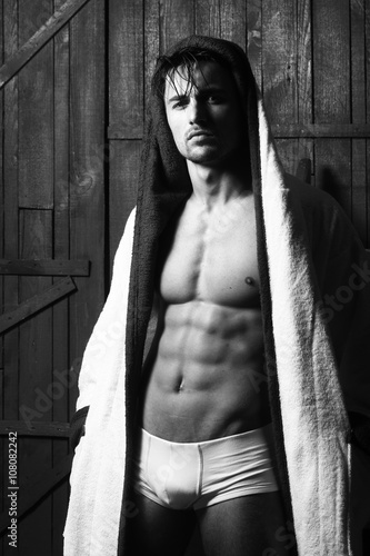 Fototapeta SExy man in bathrobe obraz na płótnie