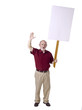 old man shouting while holding white protest banner
