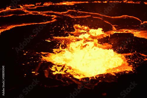 Autocollant pour porte Volcan Boiling lava, Erta Ale volcano