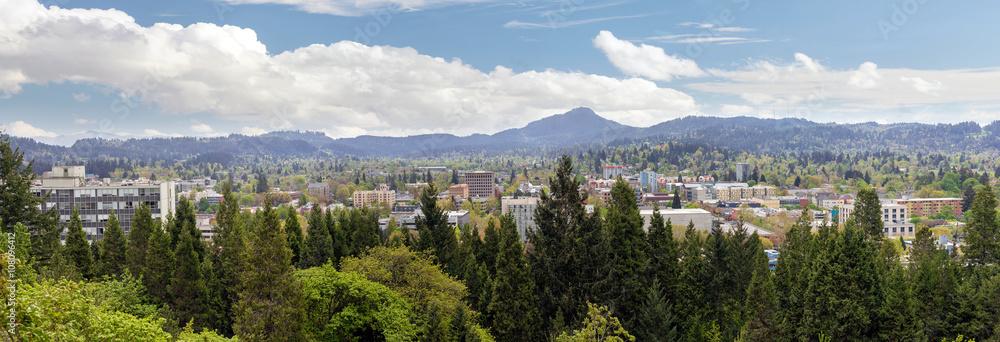 Fototapety, obrazy: Eugene Downtown from Skinner Butte Park Panorama