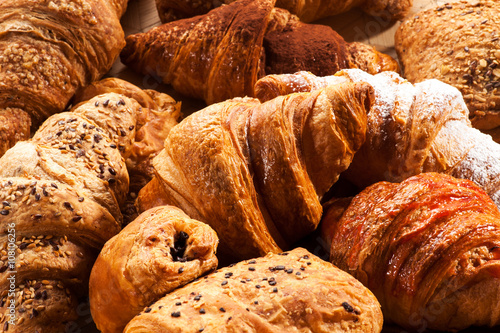 Close up of various croissant pastries
