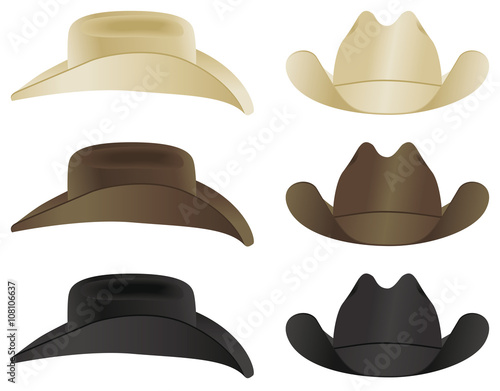 A country and western cowboy hat selection Wall mural