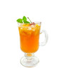 Lemonade with cherry in glass wineglass