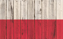Flag Of Poland Painted On Wood...