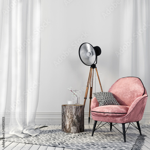 Foto op Plexiglas Retro Stylish pink chair and a vintage spotlight