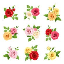 Vector Set Of Red, Pink, White, Yellow And Orange Roses Isolated On White.