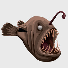 Fossil Toothy Brown Fish Lamp,...
